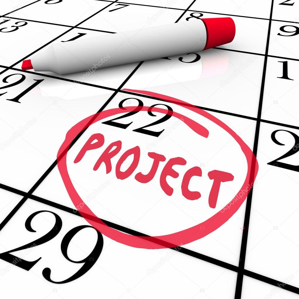 Projet Commencer Ou Se Terminer Date Encerclee Sur Jour Calendaire