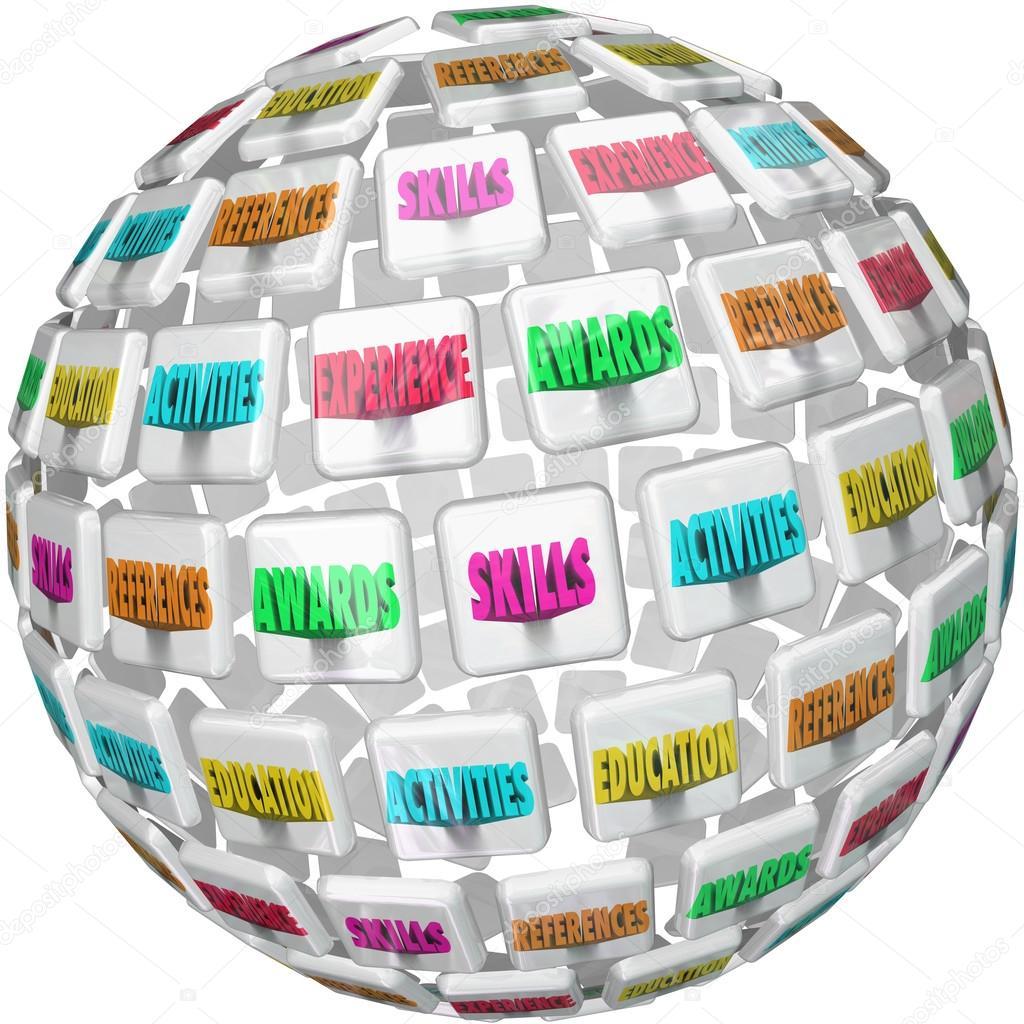 reanudar palabras esfera experiencia educación referencias — Foto de ...