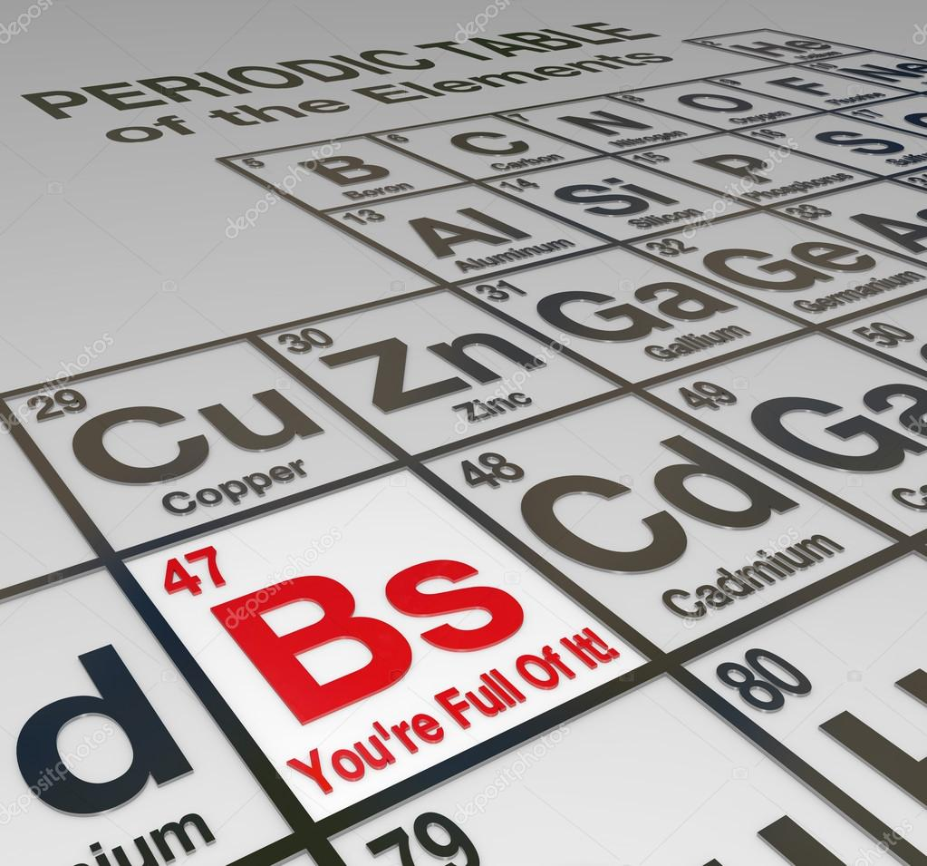 Bs youre full of it periodic table dishonest liar false stock the abbreviation bs for bullshit on a peridoic table of elements with the words youre full of it to call out a liar false untrustworthy person or urtaz Images