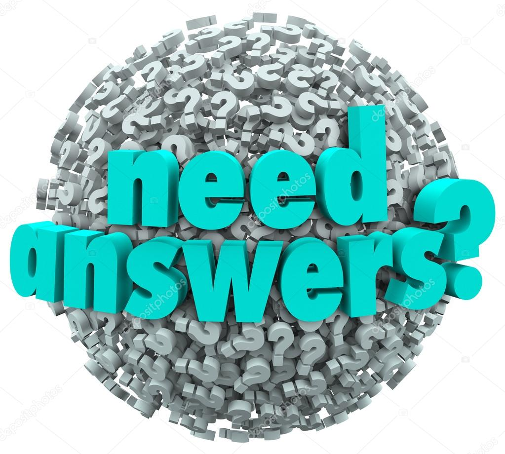 Need Answers Word Ball Question Marks Seeking Solution — Stock Photo ...