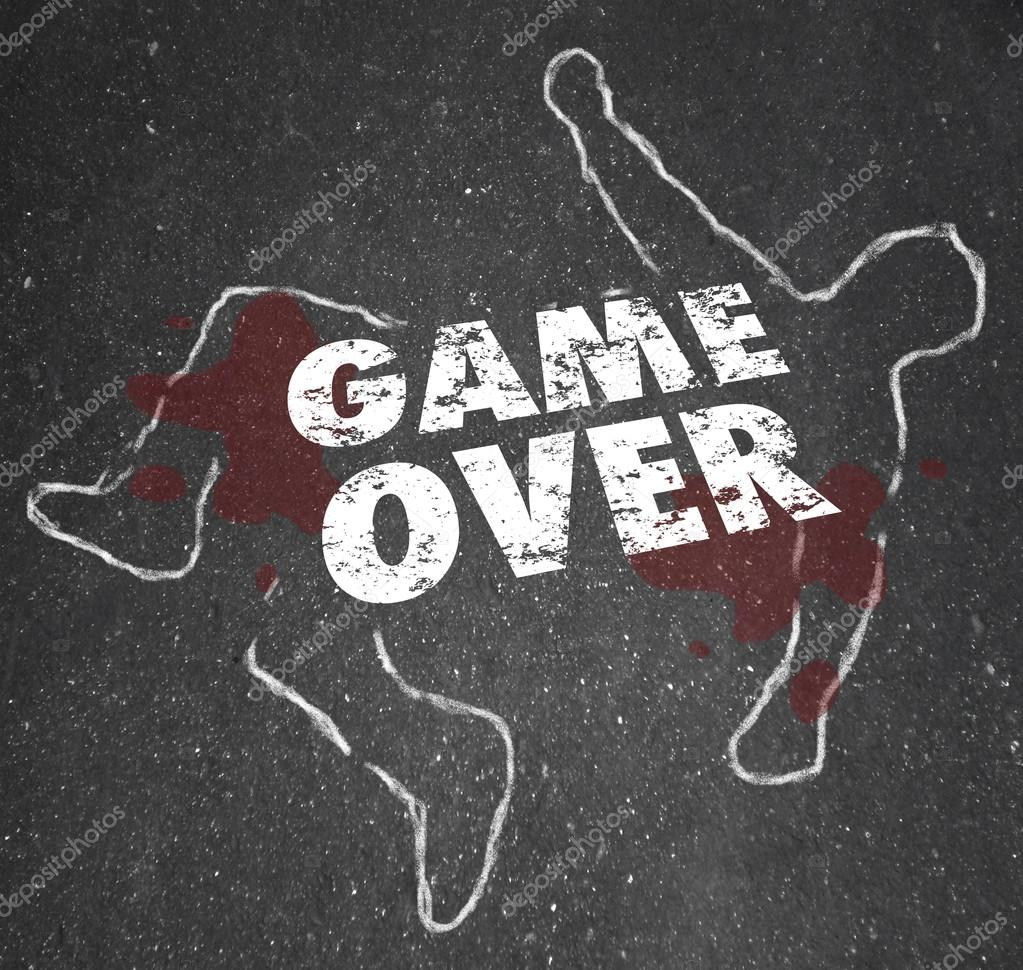 game over body chalk outline dead person stock photo