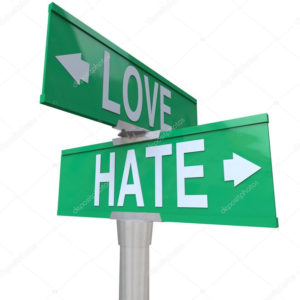 el amor vs señales de tráfico de odio — Fotos de Stock © iqoncept ... 7ab33f5146f1a