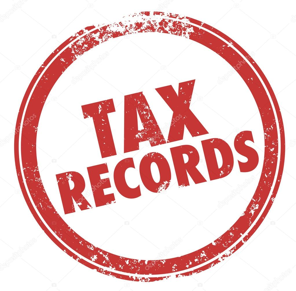 tax records words in a round red ink stamp stock photo iqoncept