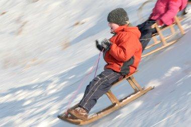 Children sledding stock vector
