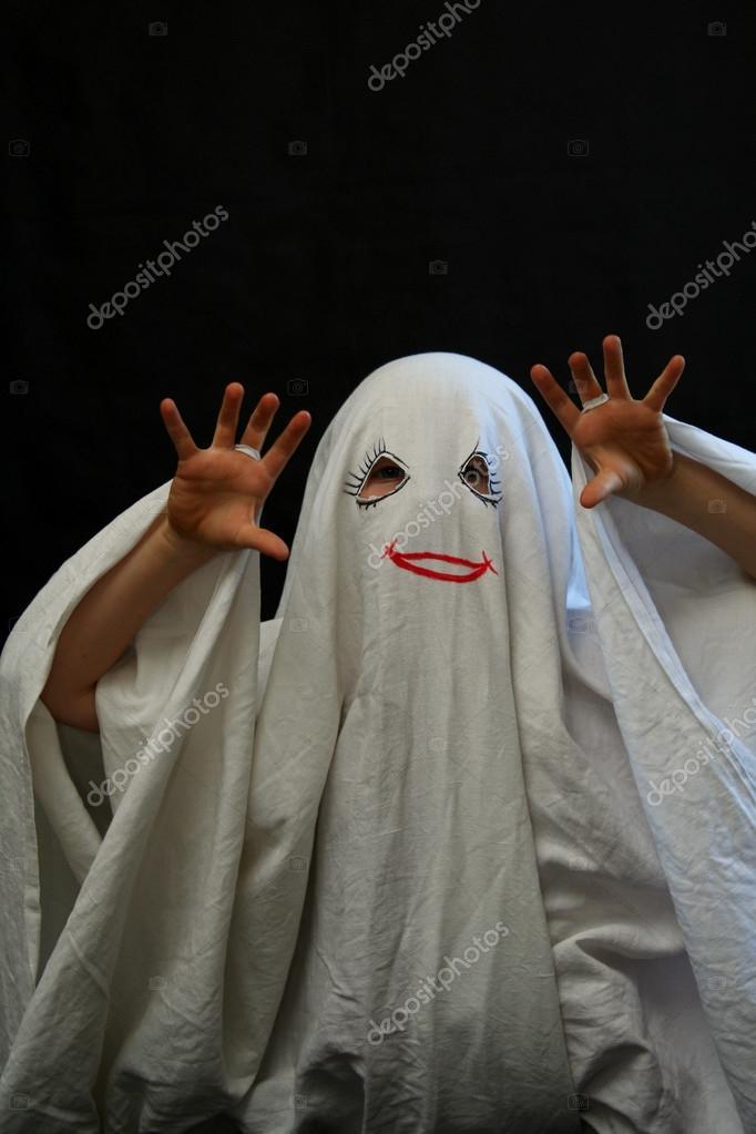 Little girl in a halloween costume u2014 Photo by Hallgerd & Little funny ghost u2014 Stock Photo © Hallgerd #13438705