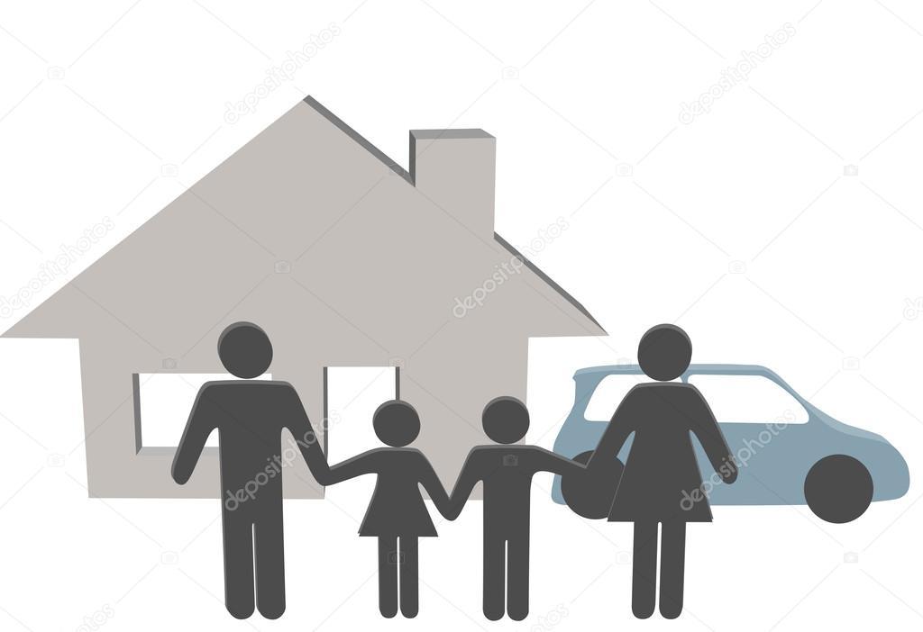 Family House Car Symbols At Home Stock Vector Michaeldb 26284483