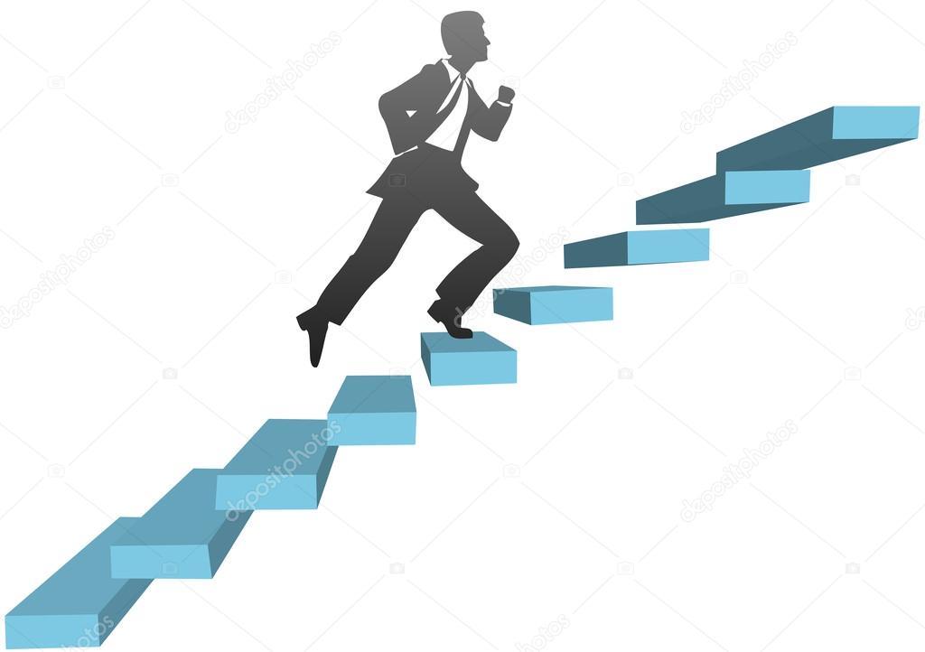 実行しているビジネス男が階段を...