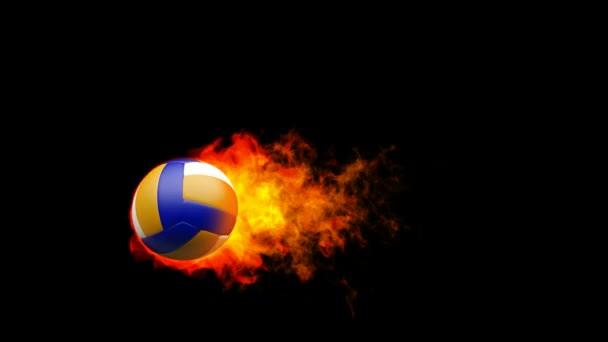 ohnivá koule volejbal v plamenech na černém pozadí