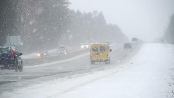 Winter road in heavy snow