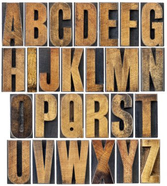 vintage wood type alphabet