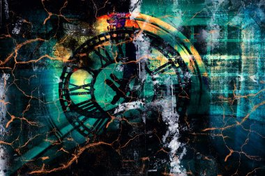 Time travel - Grunge art style colorful textured abstract digital background stock vector