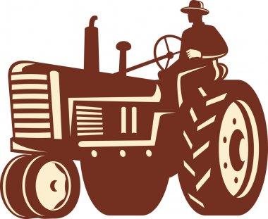 Farmer Driving Vintage Tractor Retro