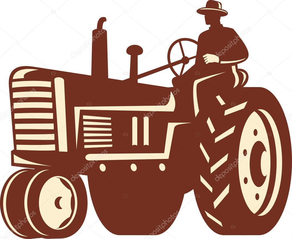 Farmer Driving Vintage Tractor Retro Stock Vector