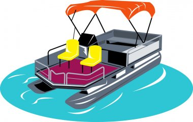 Pontoon Boat Retro
