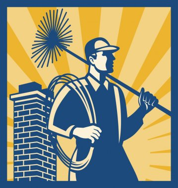 Illustration of a chimney sweeper cleaner worker with sweep broom viewed from side with chimney stack set inside square done in retro style. stock vector