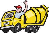 Bauarbeiter fährt Betonmischer-LKW