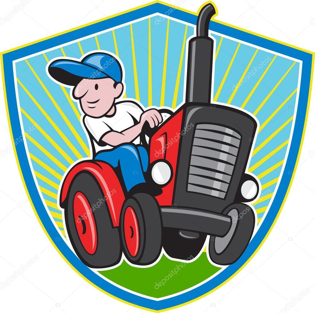 Caricature de tracteur vintage conduite agriculteur