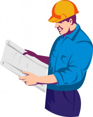 A construction worker engineer supervisor with building plan blue print at work