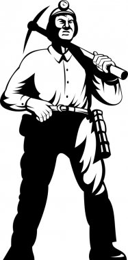 Miner with with pick axe walking standing front
