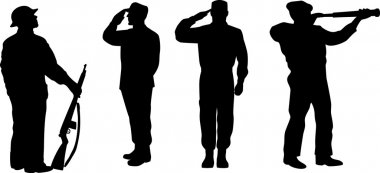 Silhouette of a soldier saluting, standing attention and looking at telescope