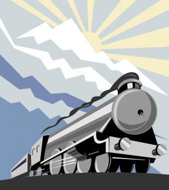 Steam train locomotive retro style