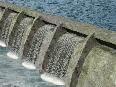 water dam with flowing water