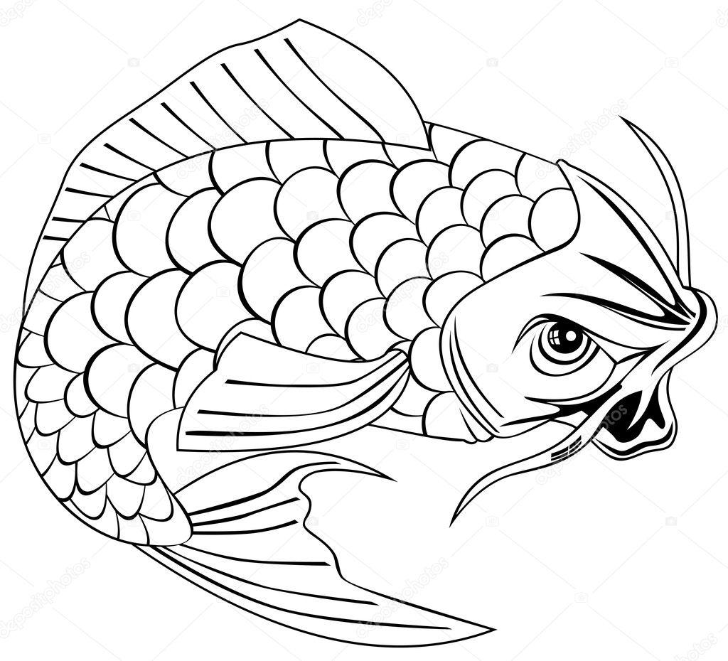 pez carpa koi saltando dibujo lineal — Archivo Imágenes Vectoriales ...