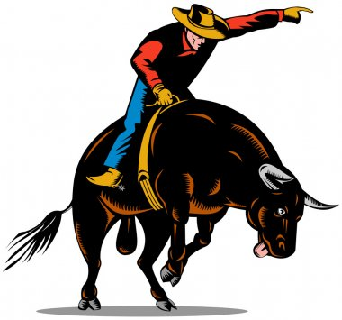 Rodeo Cowboy Bull Riding Retro