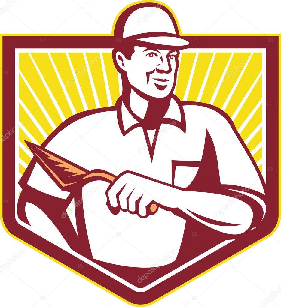 Tiler Plasterer Mason Masonry Worker Retro