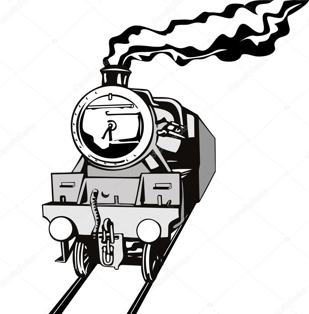 Illustration Of A Vintage Train Front View In Black And White On Isolated Background Done Retro Style Vector By Patrimonio