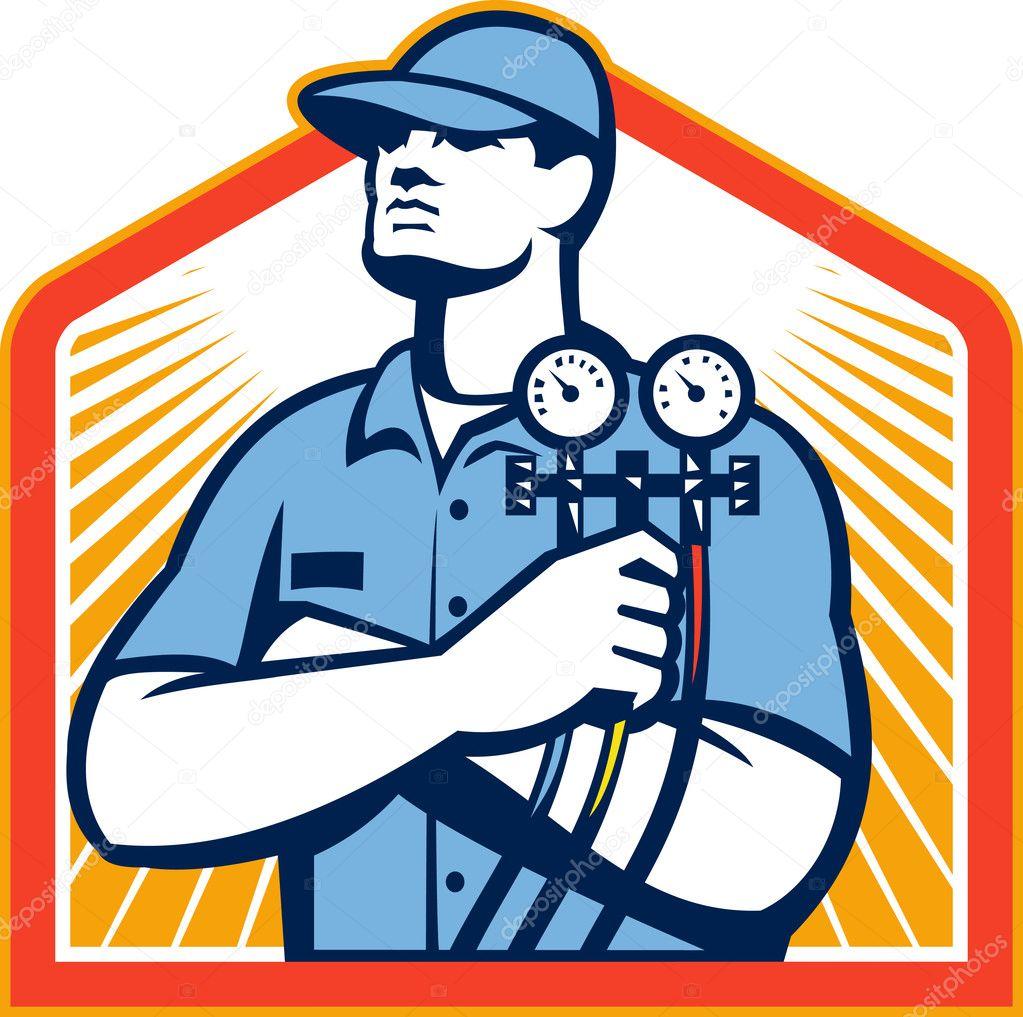 Ac Unit Prices >> Refrigeration Air Conditioning Mechanic Front — Stock Vector © patrimonio #31081403