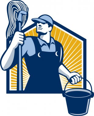 Janitor Cleaner Holding Mop Bucket Retro