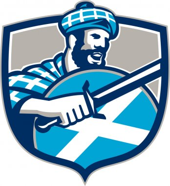 Illustration of a highlander scotsman wielding sword with Scotland flag on shield wearing tartan viewed from side set inside crest. stock vector