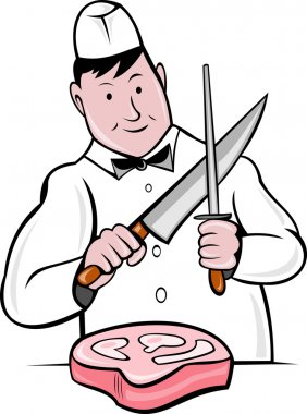 Cartoon butcher cutter with knife meat cleaver