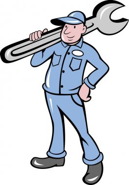 Mechanic with spanner wrench standing front
