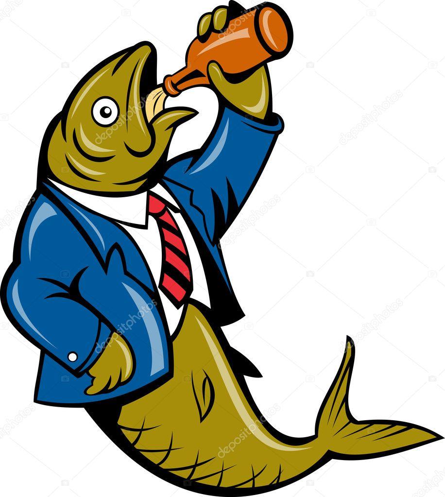 Cartoon Herring fish business suit drinking beer