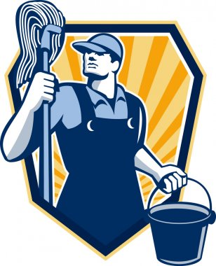 Janitor Cleaner Hold Mop Bucket Shield Retro