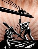 stavební tým pracovníků dřevoryt retro plakát