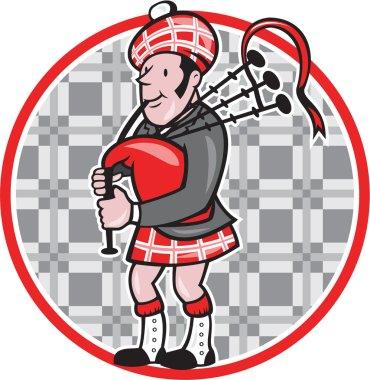 Scotsman Bagpiper Playing Bagpipes Cartoon