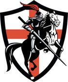 anglický rytíř na koni koně Anglie vlajky retro