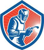 továrník svářeč svařování pochodeň strany štítu retro