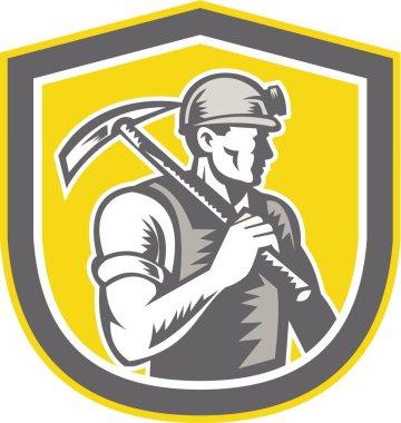 Coal Miner Pick Axe Shield Retro
