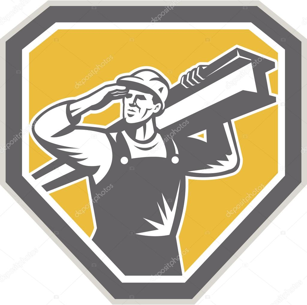 Construction Steel Worker Carrying I-Beam Retro