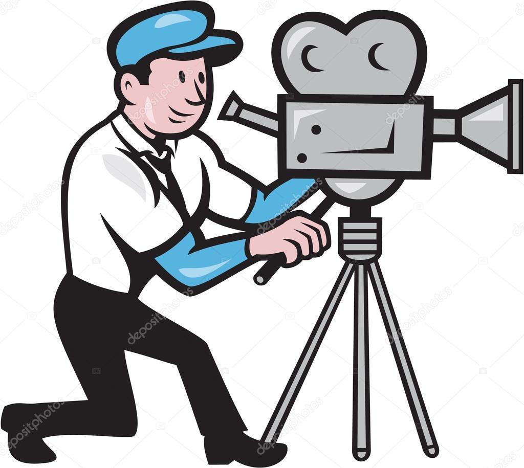 cameraman vintage film movie camera side cartoon stock vector rh depositphotos com camera movie clipart camera movie clipart