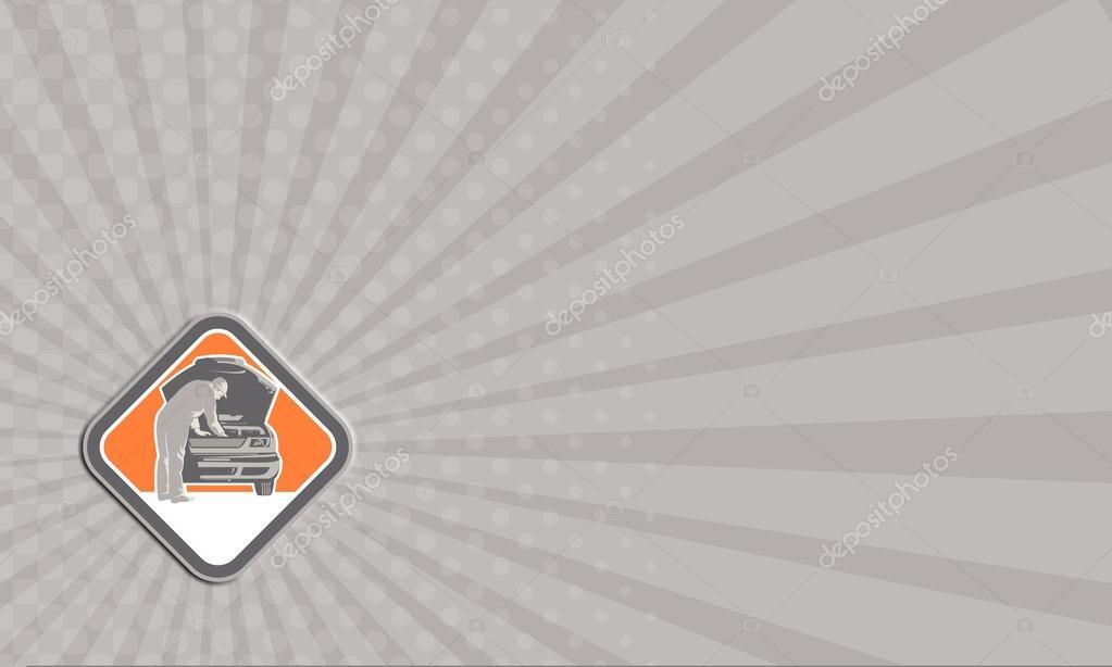 Affaires Cardi Illustration Dune Automobile Mecanicien Reparateur Voiture Vehicule Vu De Lavant A Linterieur Du Losange Fait Dans Le Style