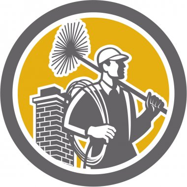 Illustration of a chimney sweep holding sweeper and rope viewed from side set inside circle on isolated background done in retro style. stock vector