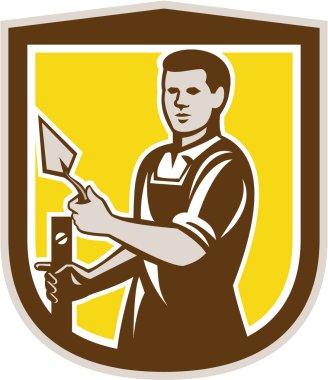 Mason Masonry Worker Trowel Shield Retro