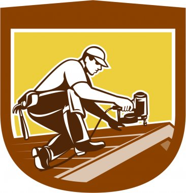 Roofer Roofing Worker Crest Shield Retro