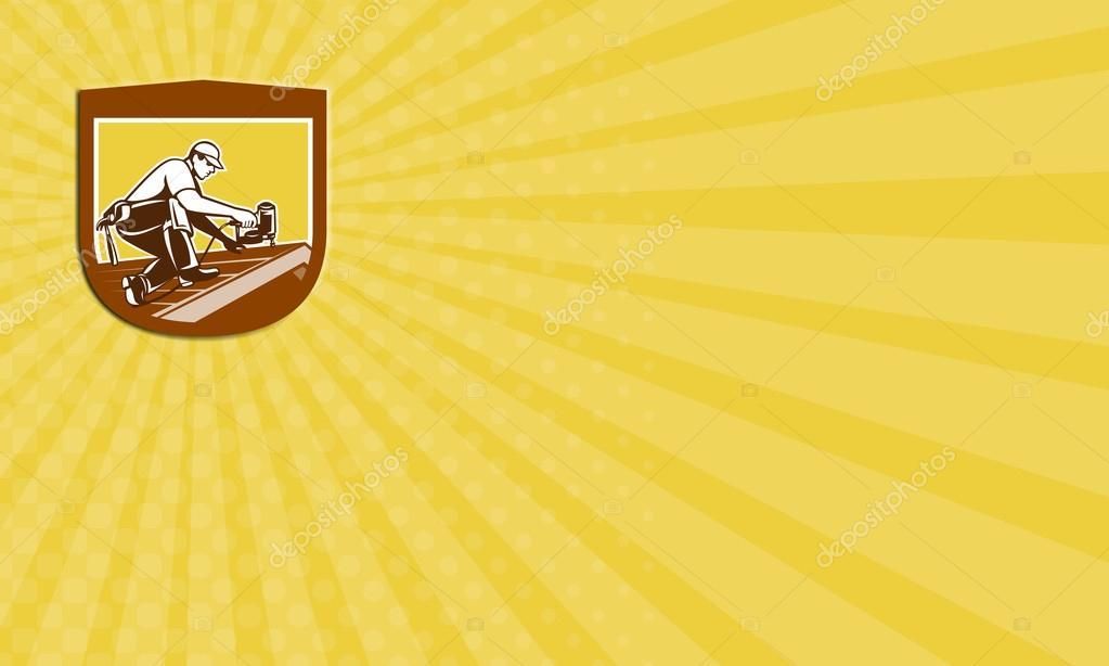 Carte De Visite Couvreur Toiture Travailleur Crte Bouclier Rtro Photo