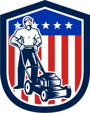 Gardener Mowing Lawn Mower Flag Retro